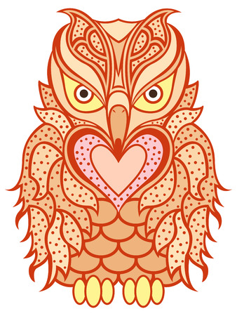 beak: Amusing big orange owl with long beak and heart isolated on the white background, cartoon artwork