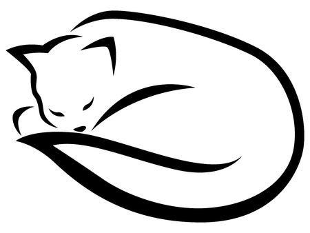 Stylized lying and sleeping black cat isolated on the white background, cartoon illustration