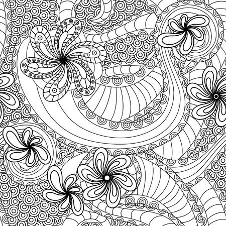 ahogarse: Modelo inconsútil blanco y negro con elementos florales del doodle, la mano se ahoga obra