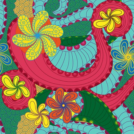 drown: Colourful seamless pattern with doodle floral elements, hand drown artwork
