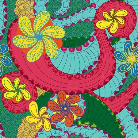 ahogarse: Modelo inconsútil colorido con elementos florales del doodle, la mano se ahoga obra