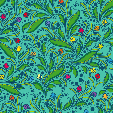 hues: Seamless pattern with doodle floral elements, hand drown vector artwork mainly in green hues