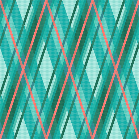charming: Seamless rhombic vector colorful pattern mainly in turquoise and red charming colors