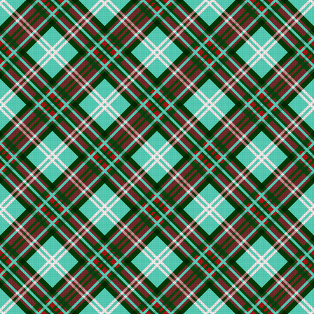 scot: Seamless diagonal vector contrast colorful pattern mainly in turquoise; red and white colors