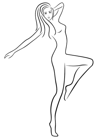 hand outline: Abstract slender woman standing on one leg during fitness exercising, hand drawing outline Illustration