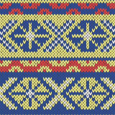 classical style: Abstract Ornamental Seamless Vector Pattern as a stylish Fabric Knitted ethnic texture in blue, yellow and red hues Illustration