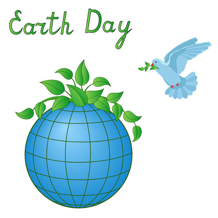 the topical: Earth Day Vector artwork with stylized Earth planet, pigeon and topical inscription isolated over white