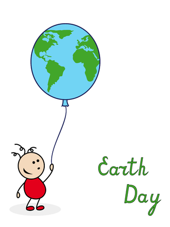 green little planet earth: Little boy holding a large balloon with the image of globe, vector illustration with inscription Earth Day