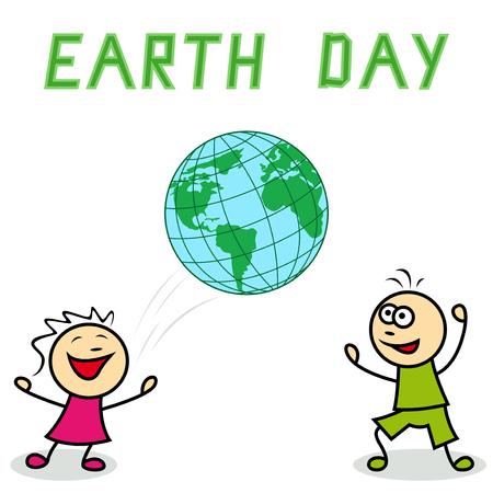 green little planet earth: Little girl and boy with the big ball depicting the world, cartoon vector artwork with inscription Earth Day