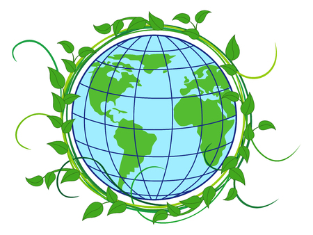 depiction: Planet Earth with depiction of continents in the wreath with green lianas as a concept of Earth Day, vector illustration isolated on the white background
