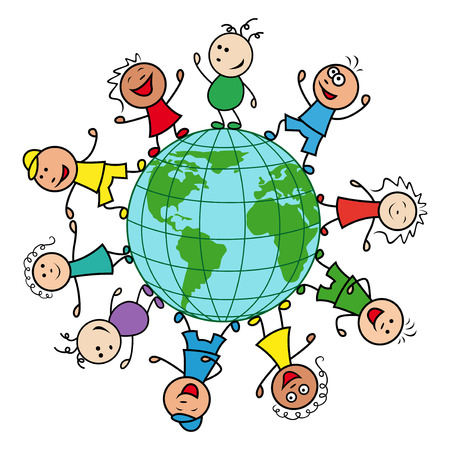 mankind: Happy people of different nationalities together around the globe celebrate the Earth Day, cartoon vector illustration