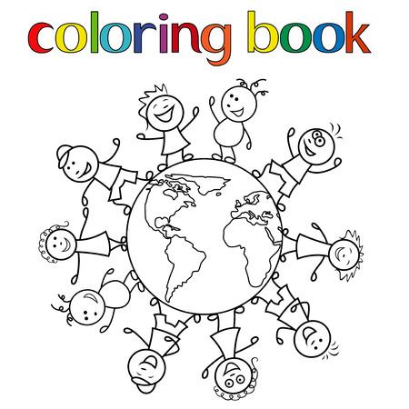 unite: Happy unite children together around the globe, cartoon vector illustration for coloring book