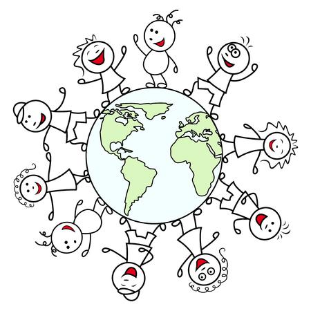 unite: Happy unite people together around the globe celebrate the Earth Day, cartoon vector illustration Illustration