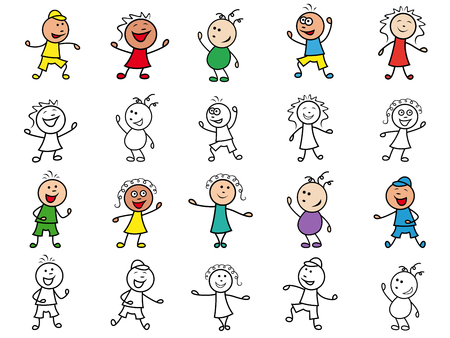 ethnicity happy: Set of twenty colourful and monochrome cartoon happy cheerful simple characters of different ethnicity, hand drawing vector illustrations isolated over white Illustration