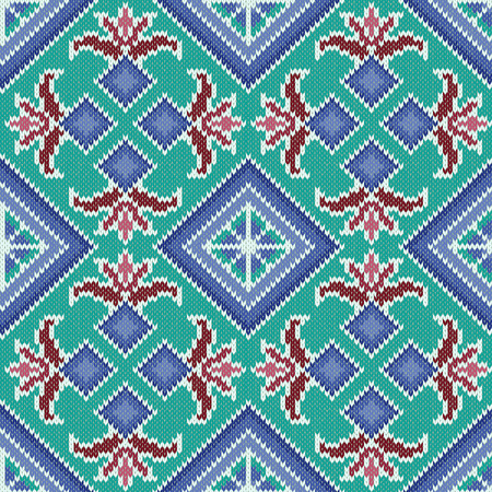 hues: Abstract Ornamental Seamless Vector Pattern as a stylish Fabric Knitted geometric and floral texture mainly in turquoise and blue hues