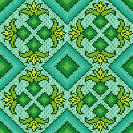 hues: Abstract Ornamental Seamless Vector Pattern as a stylish Fabric Knitted geometric and floral texture in turquoise, green and yellow hues
