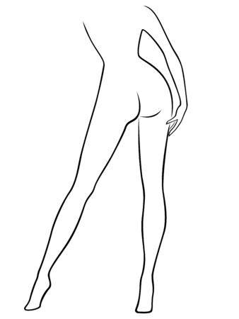 sender: Abstract attractive graceful sender female figure, view from the back, hand drawing vector outline Illustration