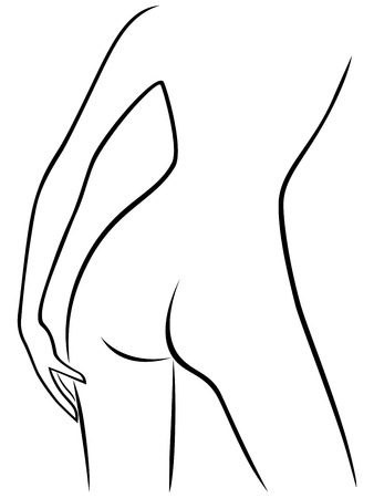 female hands: Abstract attractive graceful part of sender female bend body, view from the back, hand drawing vector artwork