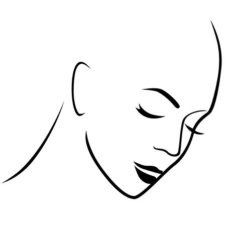 gloomy: Abstract gloomy female hairless head with closed eyes, hand drawing vector outline