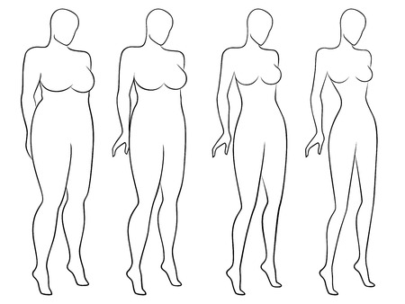 Fore stages of abstract woman on the way to lose weight, black and white laconic vector outlines isolated on white background Illustration
