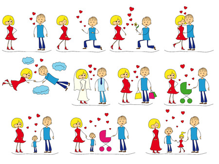 childbearing: Love Story Set of young men and women in eleven stages of their dating, love, marriage, childbearing and family life, cartoon vector color illustrations