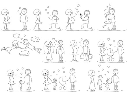 Love Story Set of young men and women in eleven stages of their dating, love, marriage, childbearing and family life, cartoon vector black and white outlines