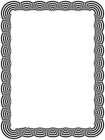 mutually: Ornamental black frame with mutually overlap arc elements isolated on the white background, vector artwork Illustration