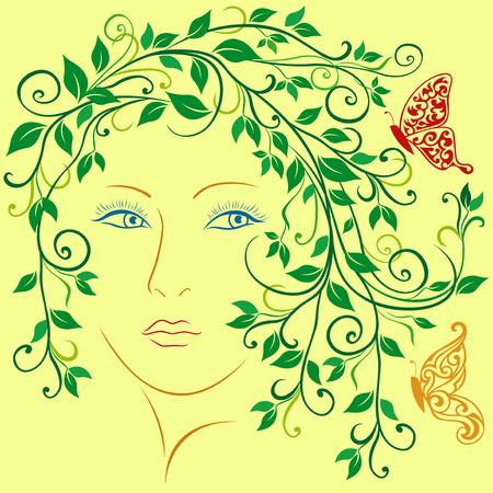 Zusammenfassung weibliches Porträt mit Drall Weinrebe Zweigen, Blättern und Schmetterlingen im Haar, bunte Vektor-Illustration