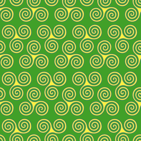 triskele: Seamless vector pattern with swirling triple spiral or Triskele, a complex ancient Celtic symbol, shapes in yellow and blue on the green background