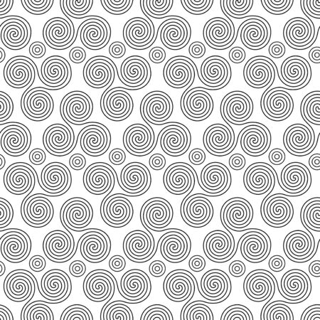 triskele: Seamless vector pattern with circles and swirling triple spiral or Triskele, a complex ancient Celtic symbol, black shapes on the white background Illustration