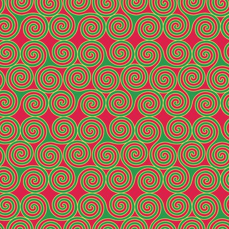 triskele: Seamless vector pattern with swirling triple spiral or Triskele, a complex ancient Celtic symbol, shapes in green and yellow on a red background