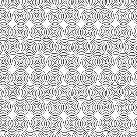 triskele: Monochrome seamless vector pattern with swirling triple spiral or Triskele, a complex ancient Celtic symbol, black shapes on the white background