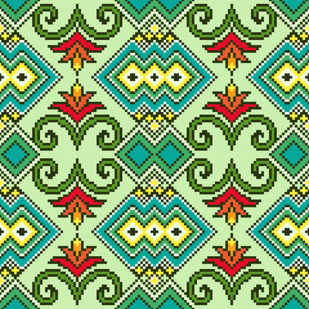embroidery on fabric: Geometrical and Floral Ornamental Seamless Pattern as a fabric Ukrainian ethnic traditional embroidery texture