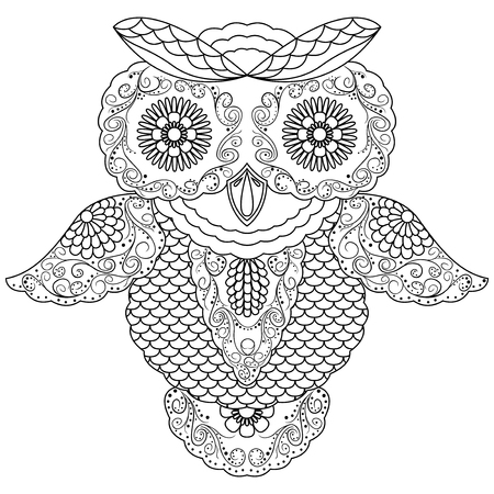 nightly: Abstract black ornamental outline of big owl, cartoon illustration isolated on a white background