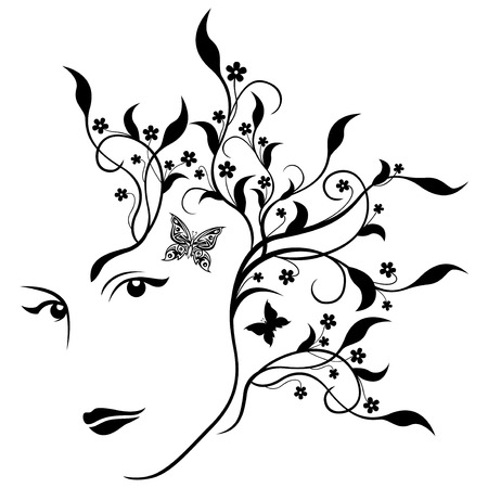 half turn: Attractive girl abstract half turn portrait with swirl twigs, leaves, flowers and butterflies in hair, black and white illustration