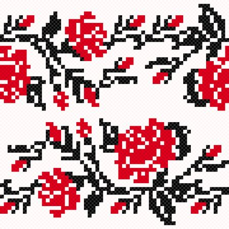 hues: Ethnic Ukrainian Broidery in dark grey and red hues on the light pink background, simple seamless vector illustration