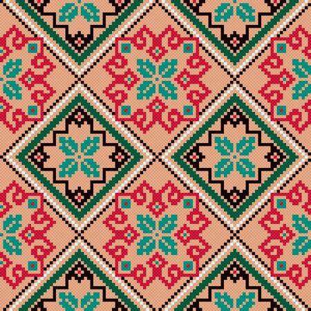 Ethnic Ukrainian colourful geometric broidery, seamless vector pattern Vector Illustration