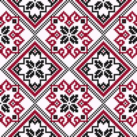 hues: Ethnic Ukrainian geometric broidery in hues of black and red on the light pink background, seamless vector pattern Illustration