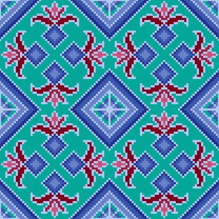 Ethnic Ukrainian multicolour geometric broidery, seamless vector pattern
