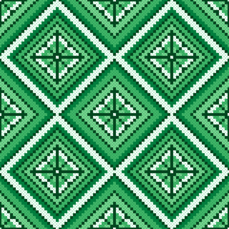 hues: Ethnic Ukrainian multicolour geometric broidery in green hues, seamless vector pattern