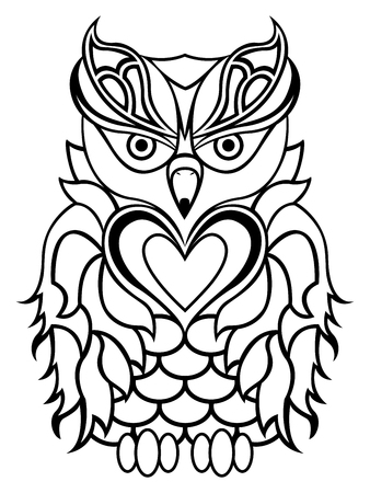 nightly: Big serious owl isolated on a white background, cartoon black and white vector outline