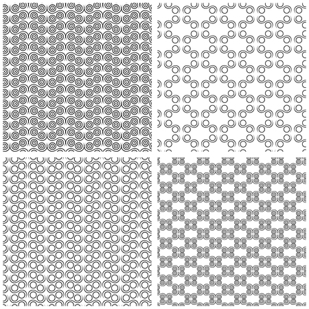 collected: Four different seamless patterns in one file collected. Black and white vector illustration Illustration