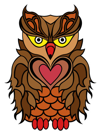 nocturnal animal: Big serious owl mainly in brown colours isolated on a white background, cartoon vector illustration