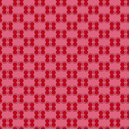 hues: Seamless vector symmetrical pattern with simple geometric details in red and pink hues