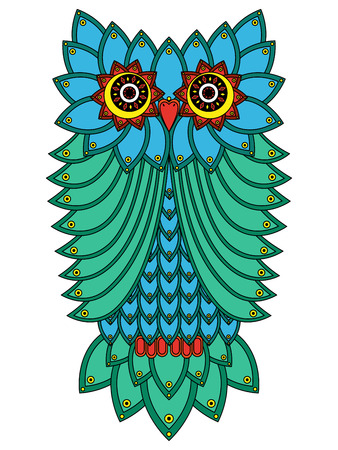 nightly: Big serious owl mainly in blue and green hues isolated on a white background, cartoon vector illustration Illustration