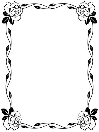 white roses: Floral ornamental frame with roses, black and white vector illustration