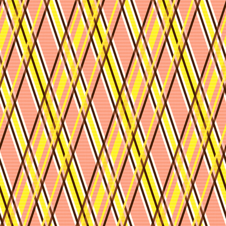 hues: Seamless vector pattern with crossed lines mainly in yellow, brown and light terracotta hues like as pseudo 3D effect Illustration