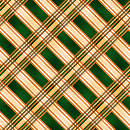 scot: Seamless diagonal vector pattern mainly in orange and green hues Illustration