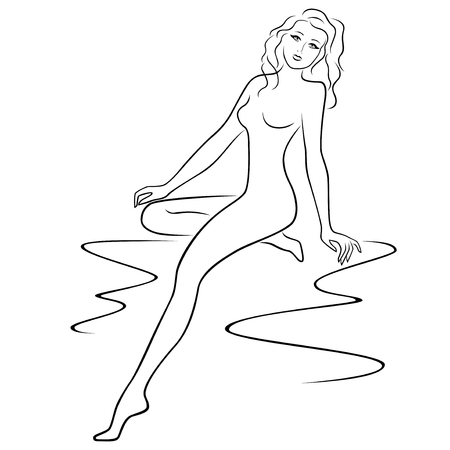waistline: Abstract attractive young woman sitting and posing half turn, sketching vector outline illustration
