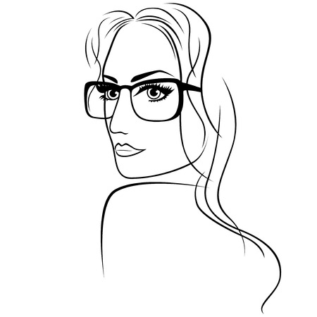 black woman face: Abstract attractive young woman half turn portrait with big eyes and long hair in eyeglasses, sketching vector outline illustration Illustration